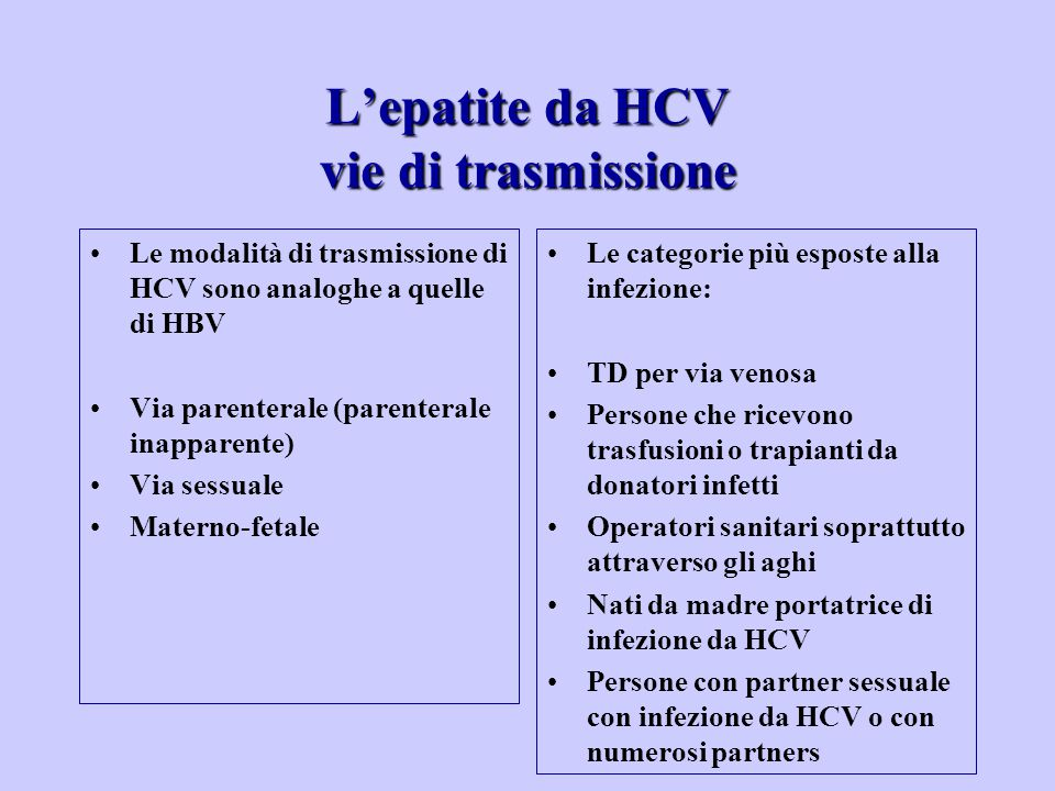 L'epatite da HCV vie di trasmissione