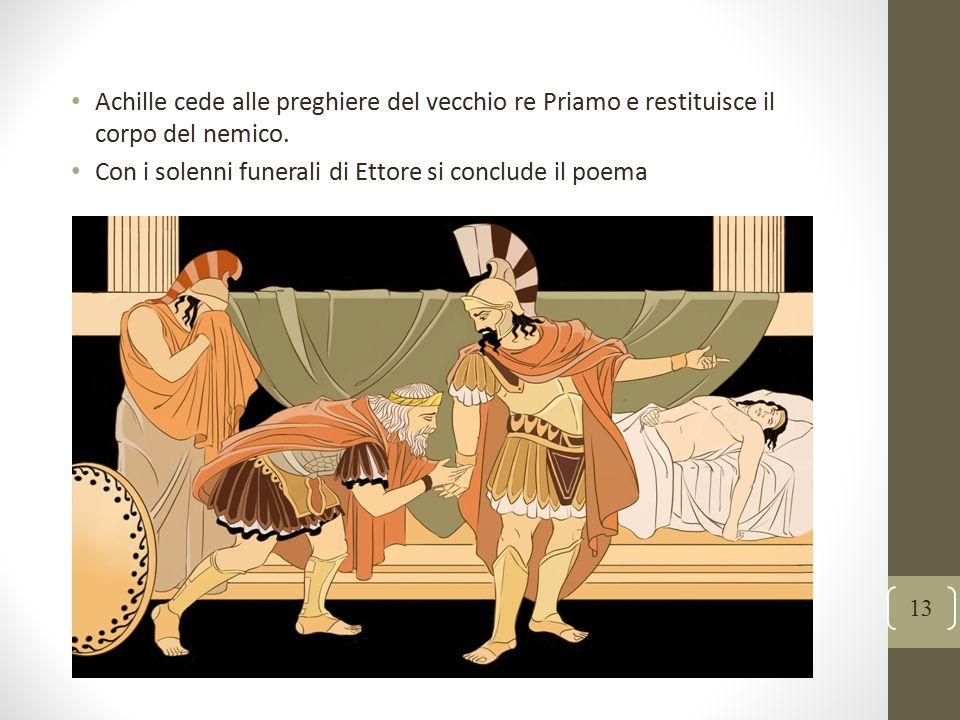 Achille cede alle preghiere del vecchio re Priamo e restituisce il corpo del nemico.