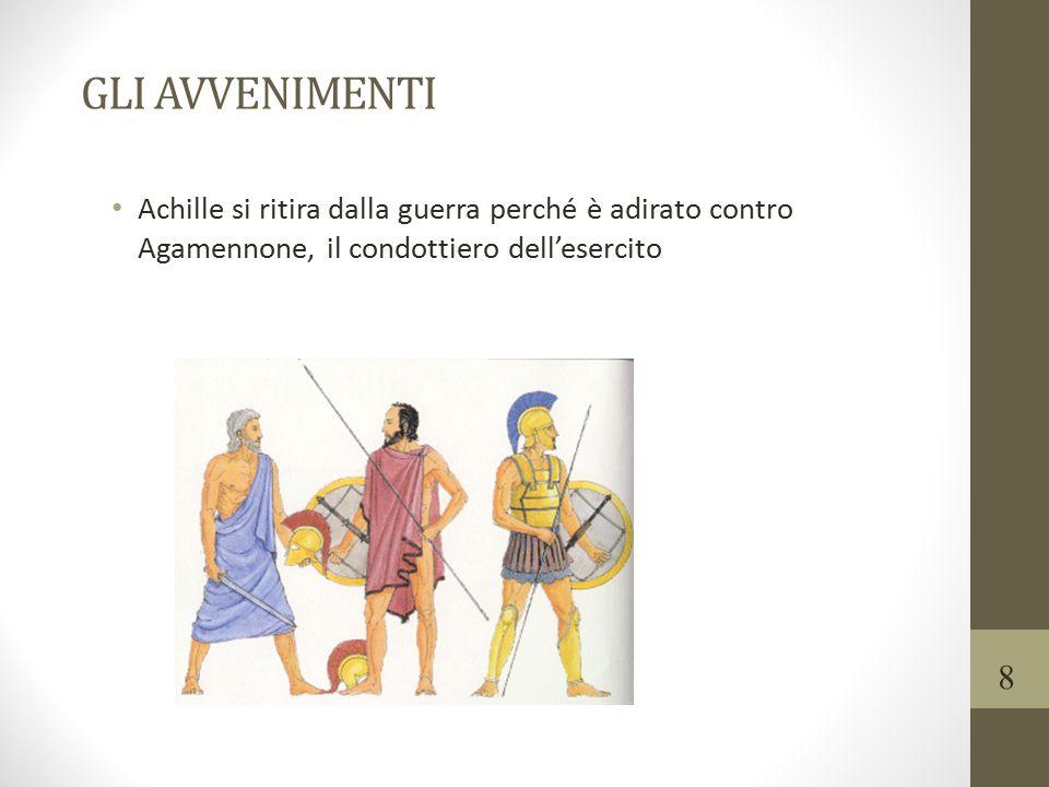 GLI AVVENIMENTI Achille si ritira dalla guerra perché è adirato contro Agamennone, il condottiero dell'esercito.