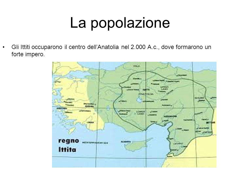 La popolazione Gli Ittiti occuparono il centro dell'Anatolia nel 2.000 A.c., dove formarono un forte impero.