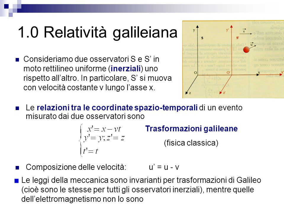 1.0 Relatività galileiana