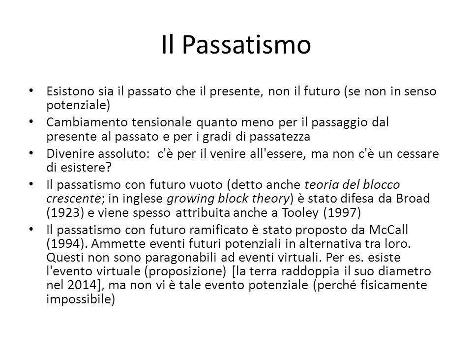Il Passatismo Esistono sia il passato che il presente, non il futuro (se non in senso potenziale)