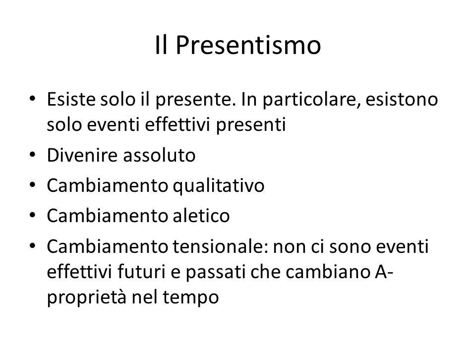 Il Presentismo Esiste solo il presente. In particolare, esistono solo eventi effettivi presenti. Divenire assoluto.