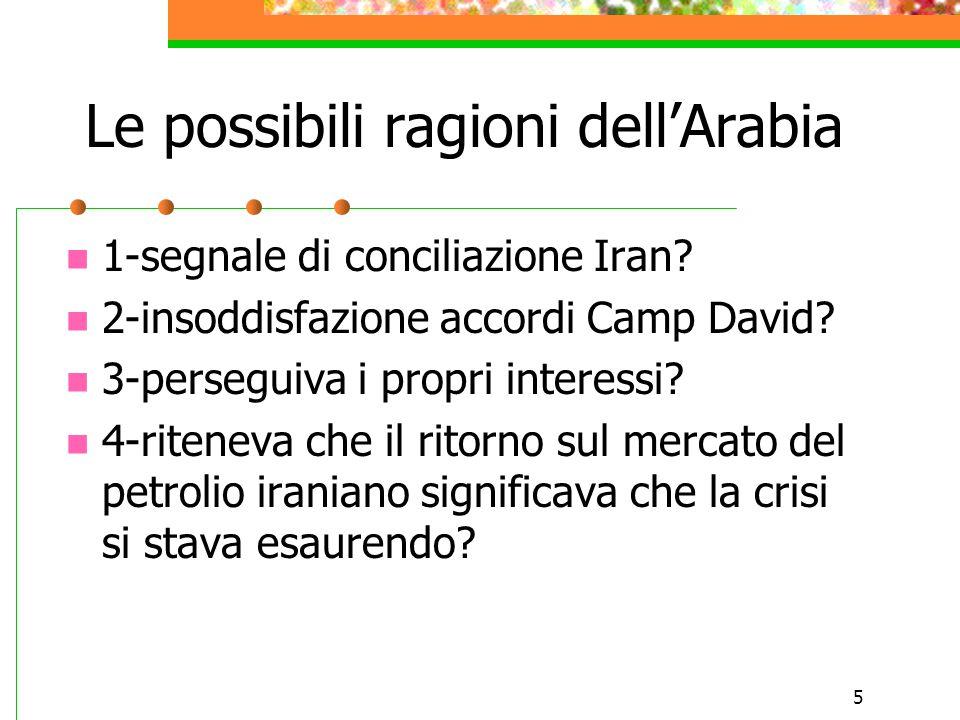 Le possibili ragioni dell'Arabia