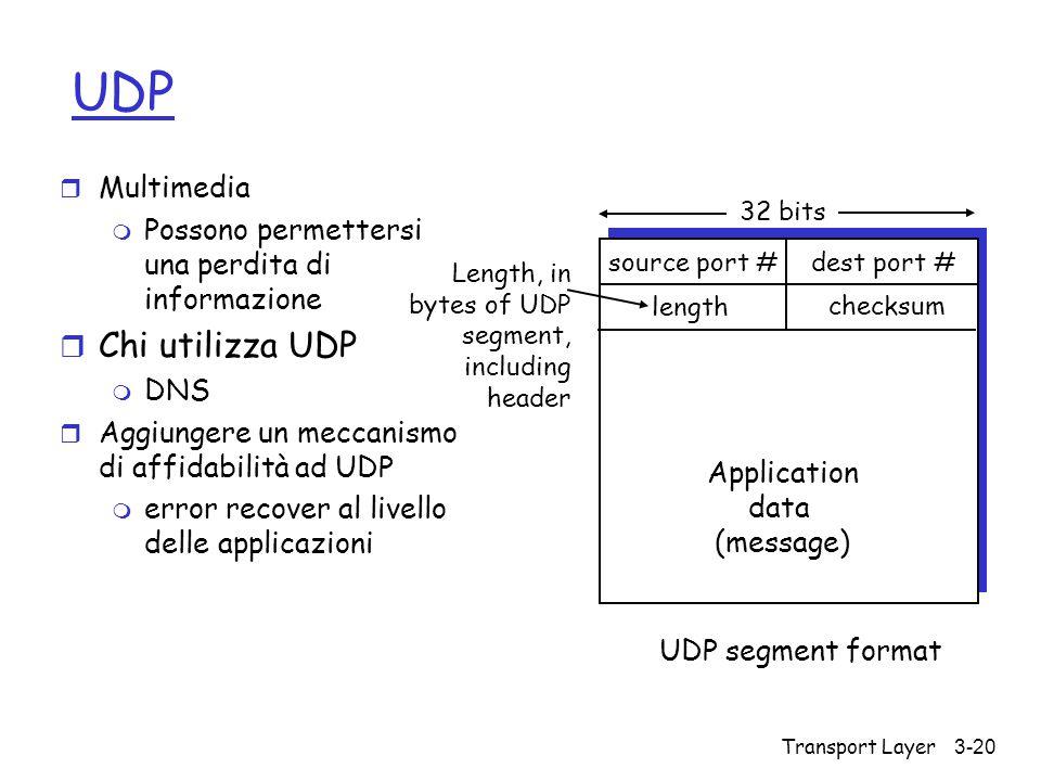 UDP Chi utilizza UDP Multimedia