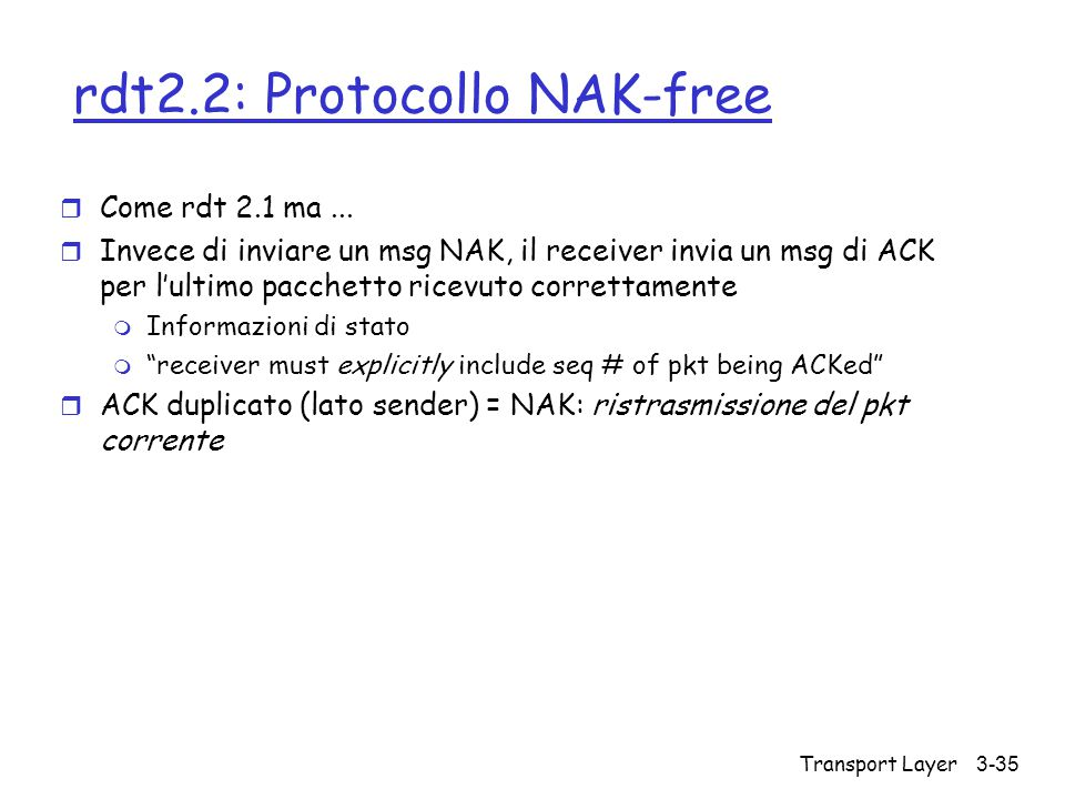 rdt2.2: Protocollo NAK-free