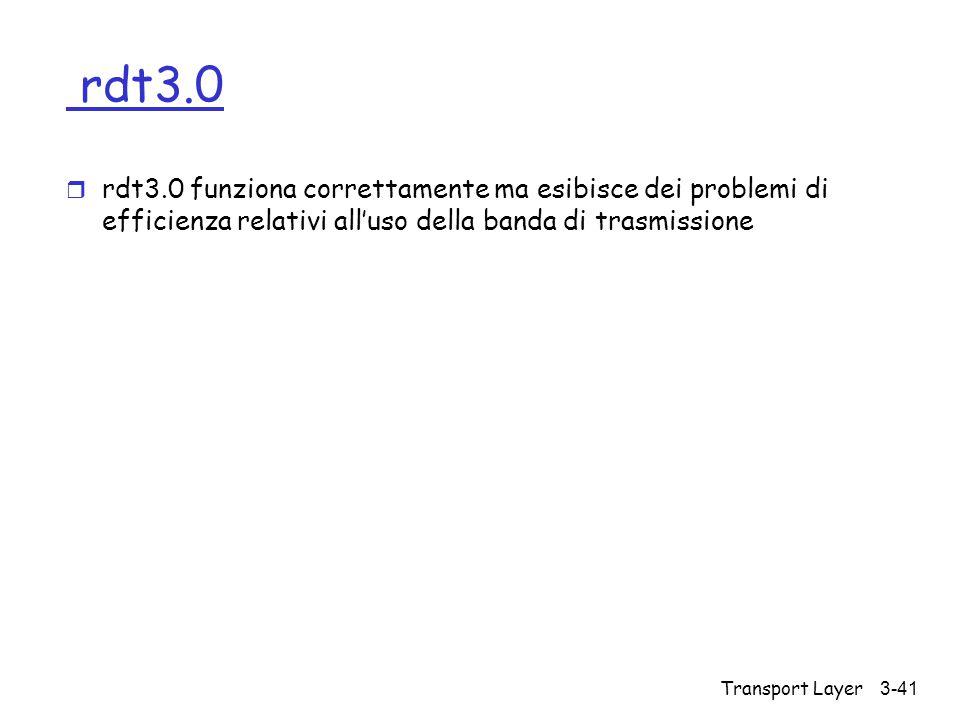 rdt3.0 rdt3.0 funziona correttamente ma esibisce dei problemi di efficienza relativi all'uso della banda di trasmissione.