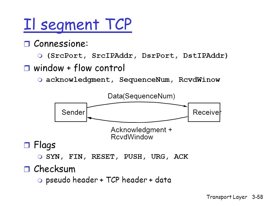 Il segment TCP Connessione: window + flow control Flags Checksum