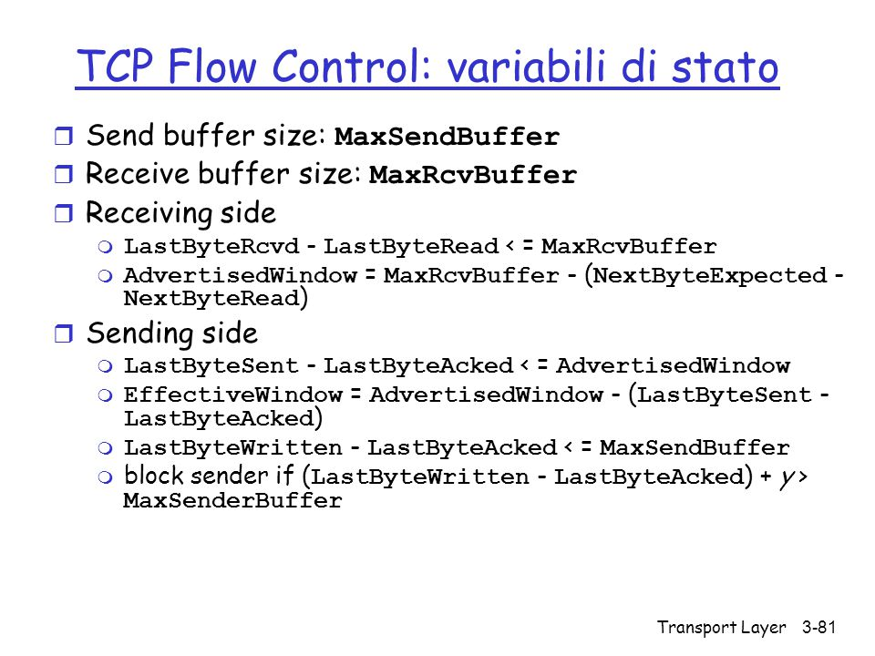 TCP Flow Control: variabili di stato