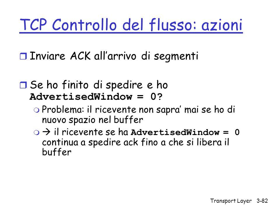 TCP Controllo del flusso: azioni