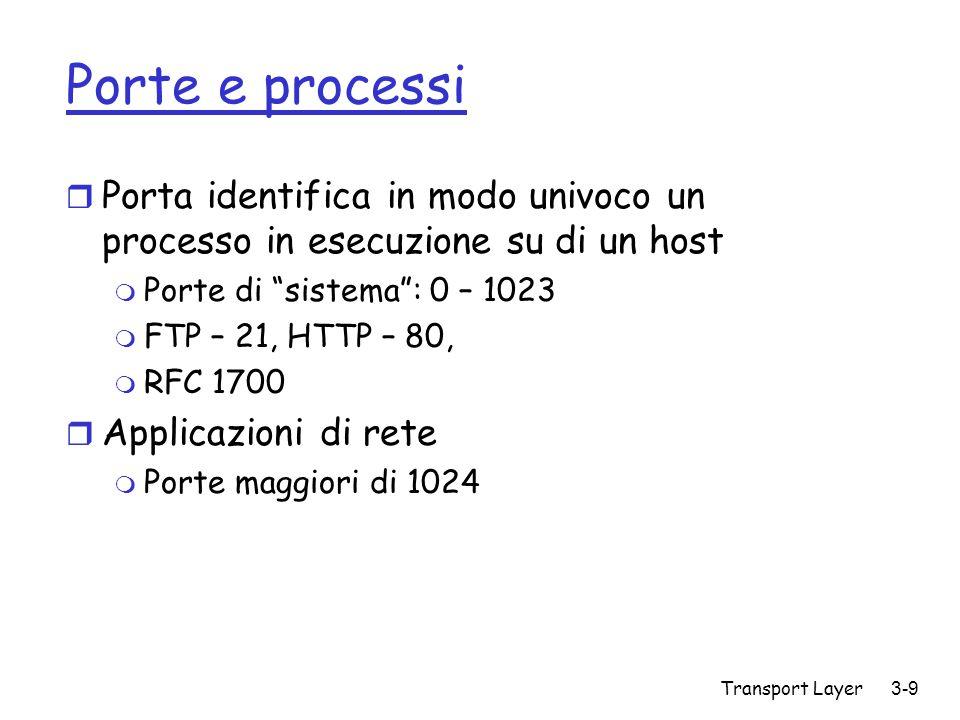 Porte e processi Porta identifica in modo univoco un processo in esecuzione su di un host. Porte di sistema : 0 – 1023.