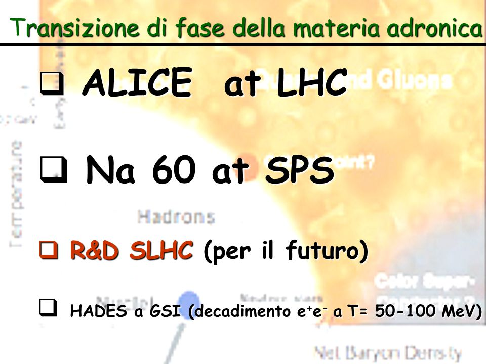 Na 60 at SPS ALICE at LHC R&D SLHC (per il futuro)