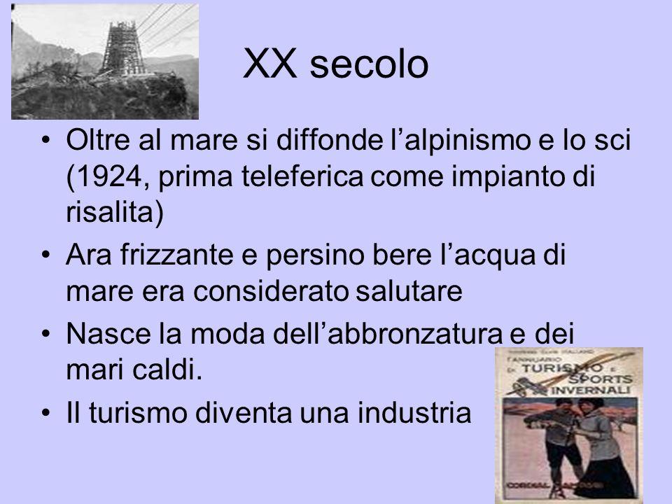 XX secolo Oltre al mare si diffonde l'alpinismo e lo sci (1924, prima teleferica come impianto di risalita)