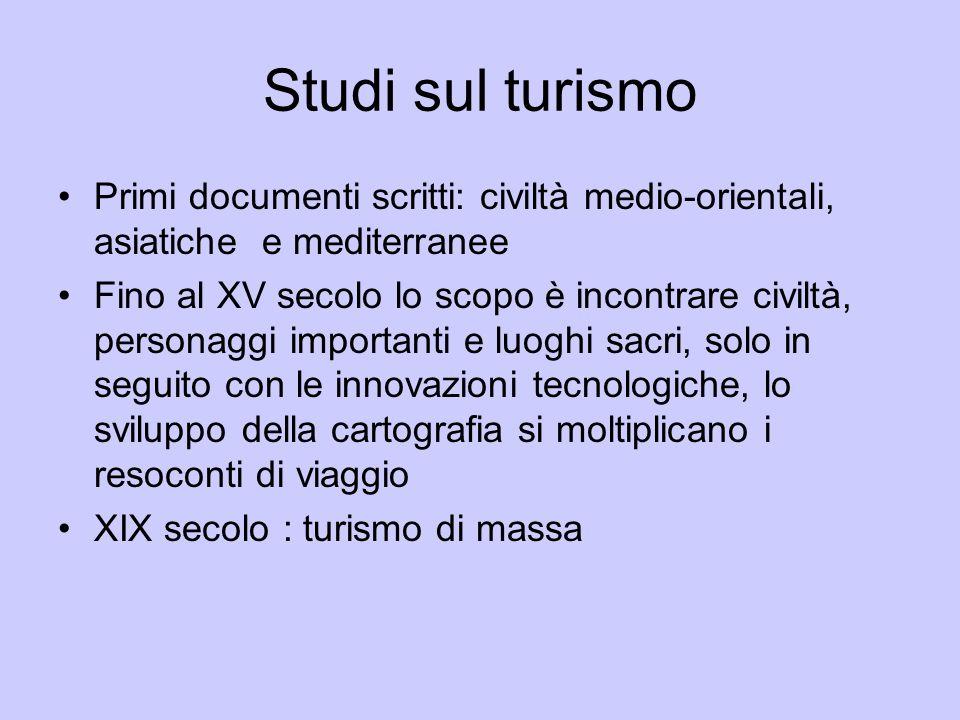 Studi sul turismo Primi documenti scritti: civiltà medio-orientali, asiatiche e mediterranee.