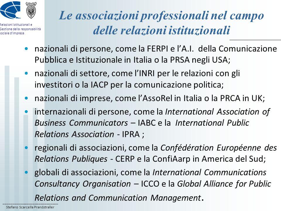Le associazioni professionali nel campo delle relazioni istituzionali
