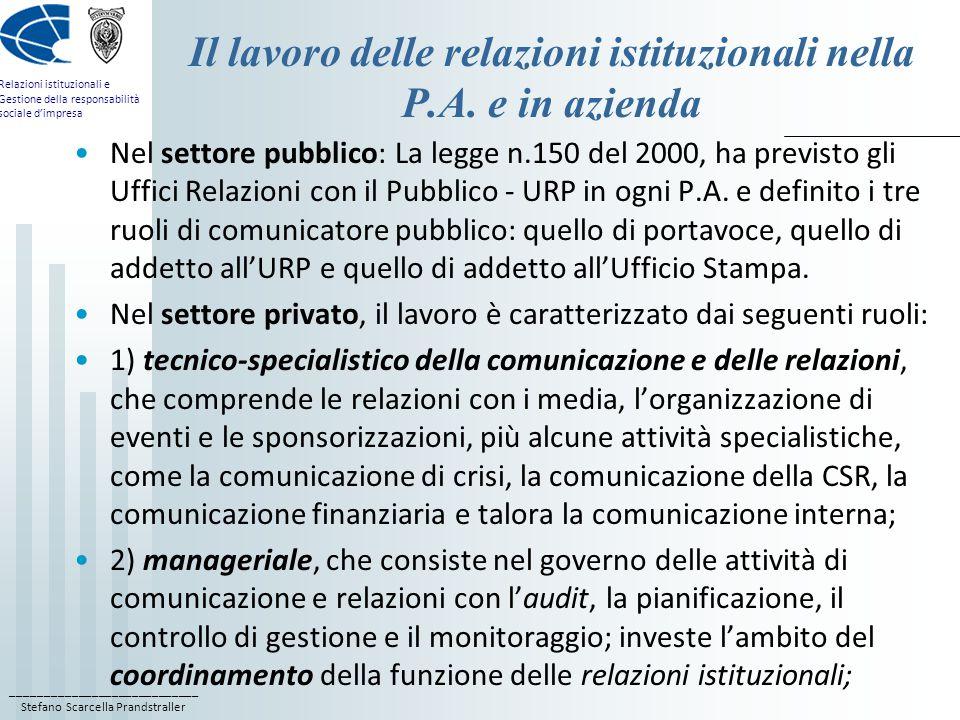 Il lavoro delle relazioni istituzionali nella P.A. e in azienda