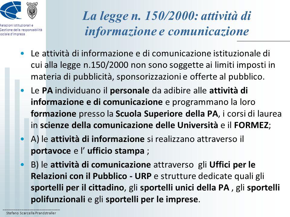 La legge n. 150/2000: attività di informazione e comunicazione