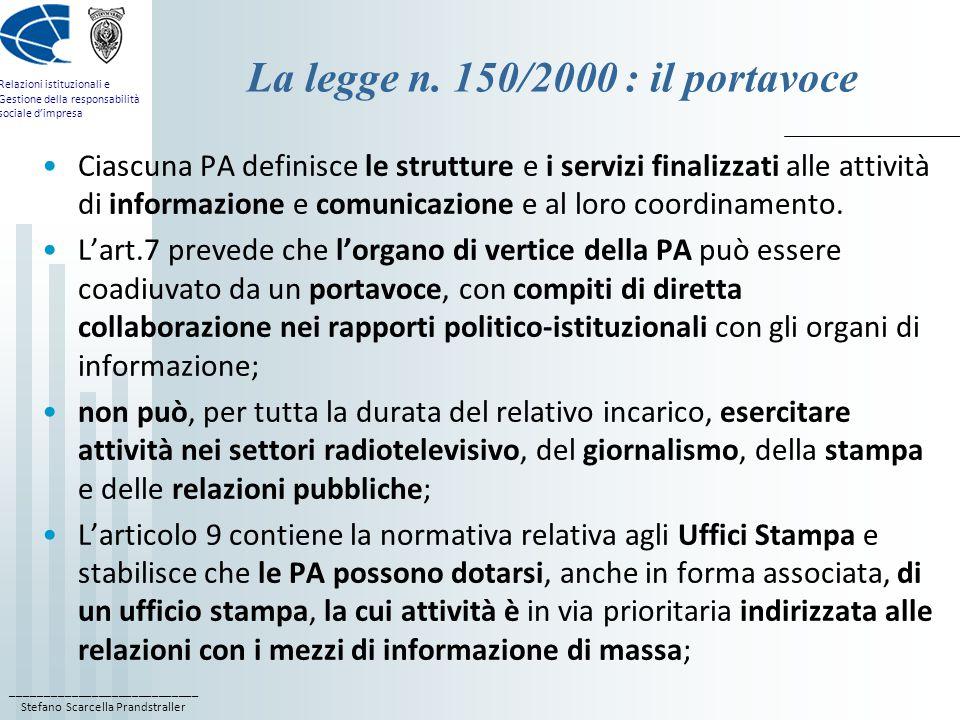 La legge n. 150/2000 : il portavoce