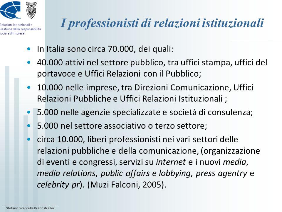 I professionisti di relazioni istituzionali