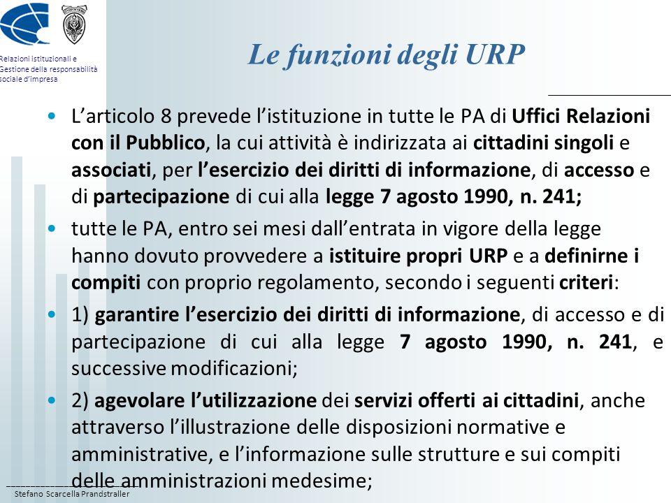Le funzioni degli URP