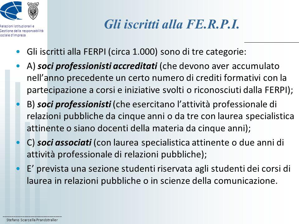 Gli iscritti alla FE.R.P.I.