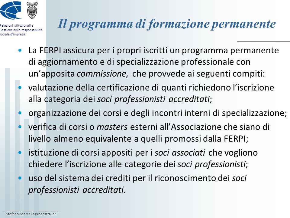Il programma di formazione permanente