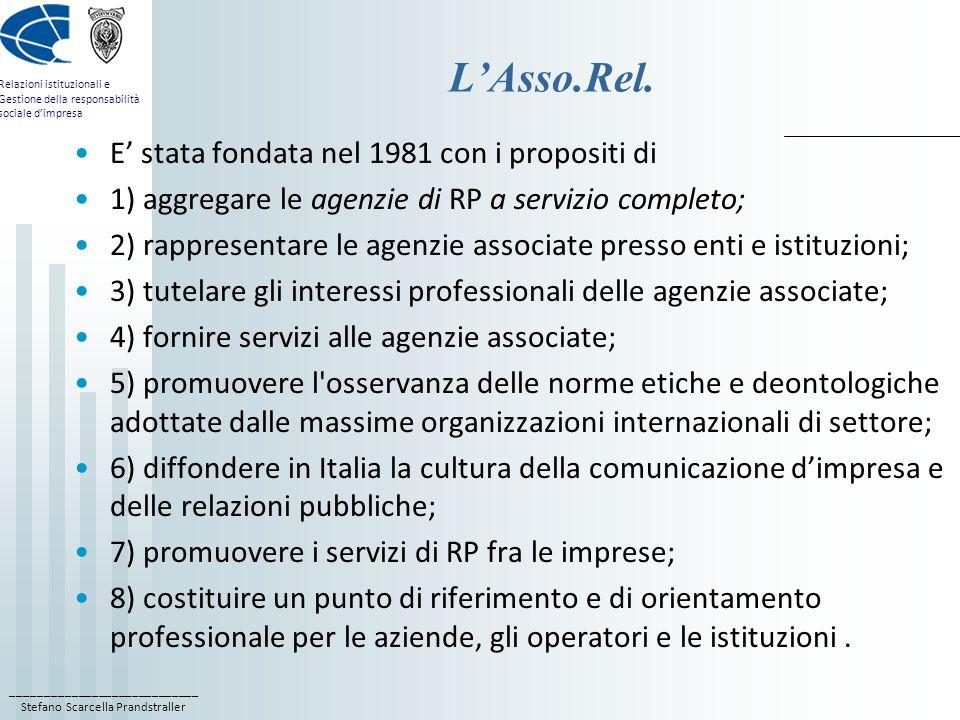 L'Asso.Rel. E' stata fondata nel 1981 con i propositi di