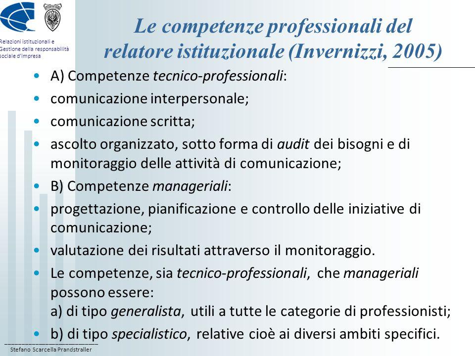 Le competenze professionali del relatore istituzionale (Invernizzi, 2005)