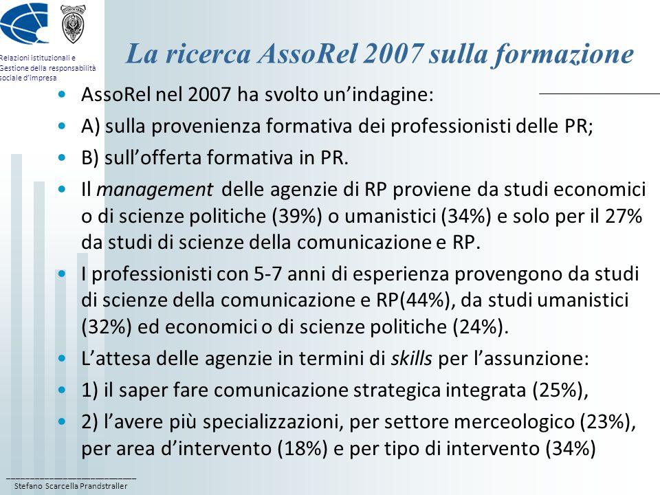 La ricerca AssoRel 2007 sulla formazione