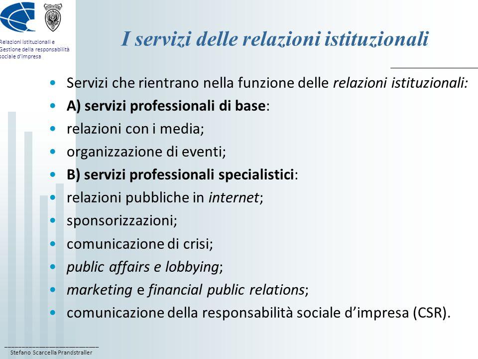 I servizi delle relazioni istituzionali