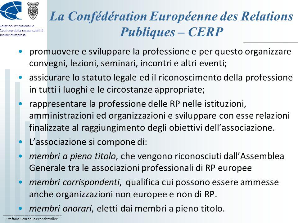 La Confédération Européenne des Relations Publiques – CERP