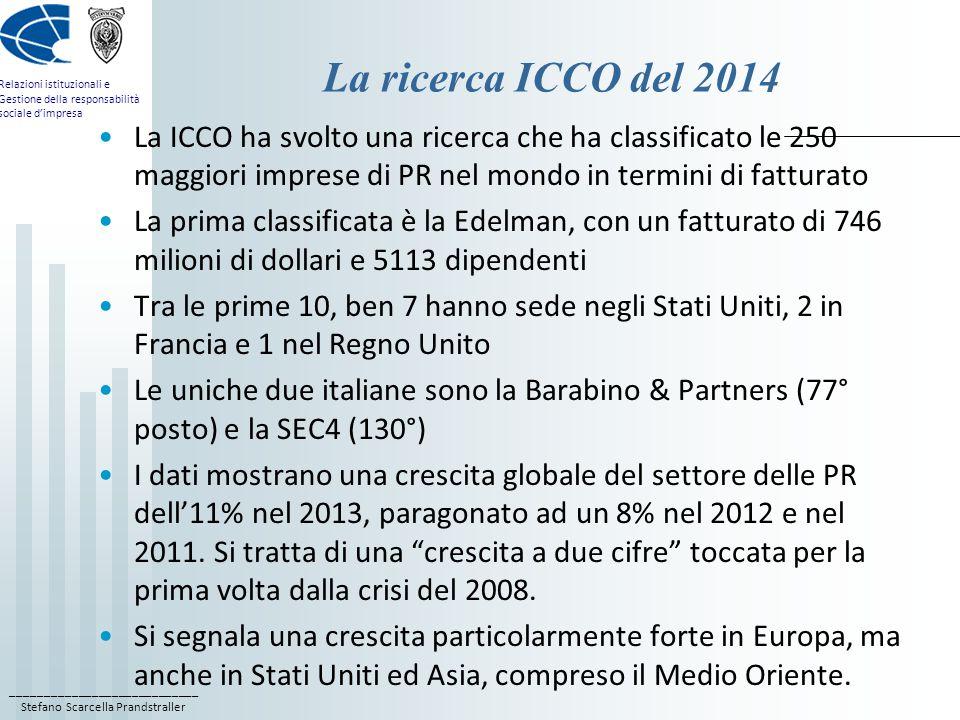 La ricerca ICCO del 2014 La ICCO ha svolto una ricerca che ha classificato le 250 maggiori imprese di PR nel mondo in termini di fatturato.