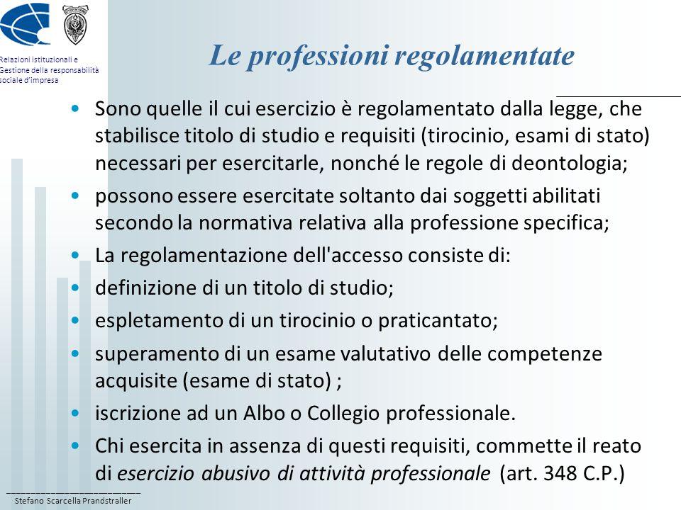 Le professioni regolamentate