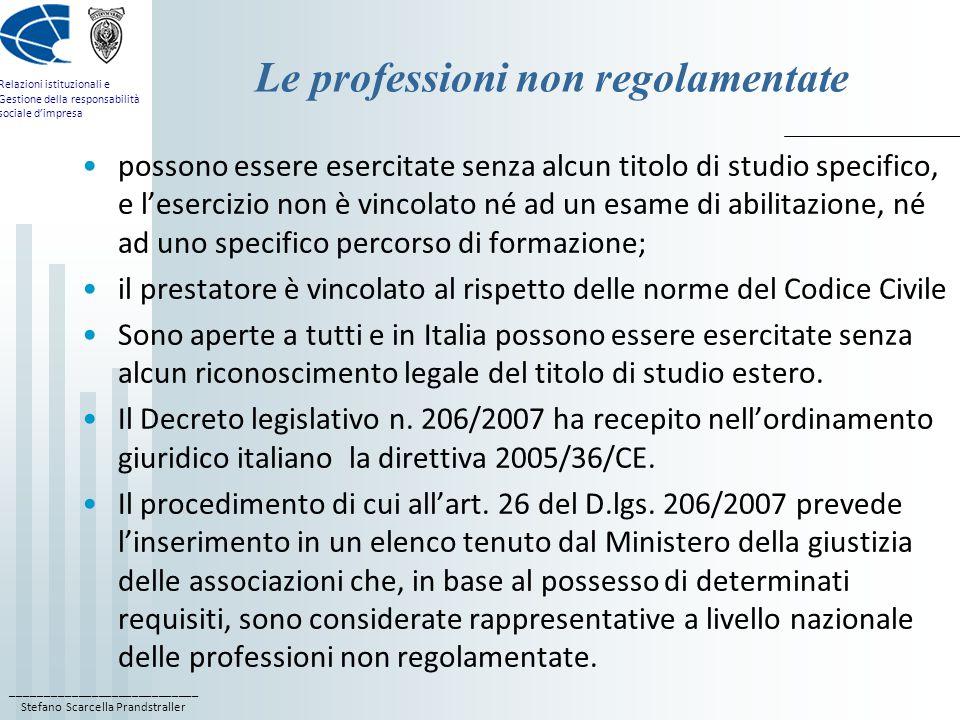 Le professioni non regolamentate