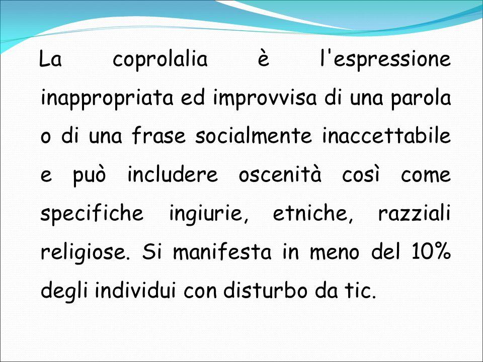 La coprolalia è l espressione inappropriata ed improvvisa di una parola o di una frase socialmente inaccettabile e può includere oscenità così come specifiche ingiurie, etniche, razziali religiose.