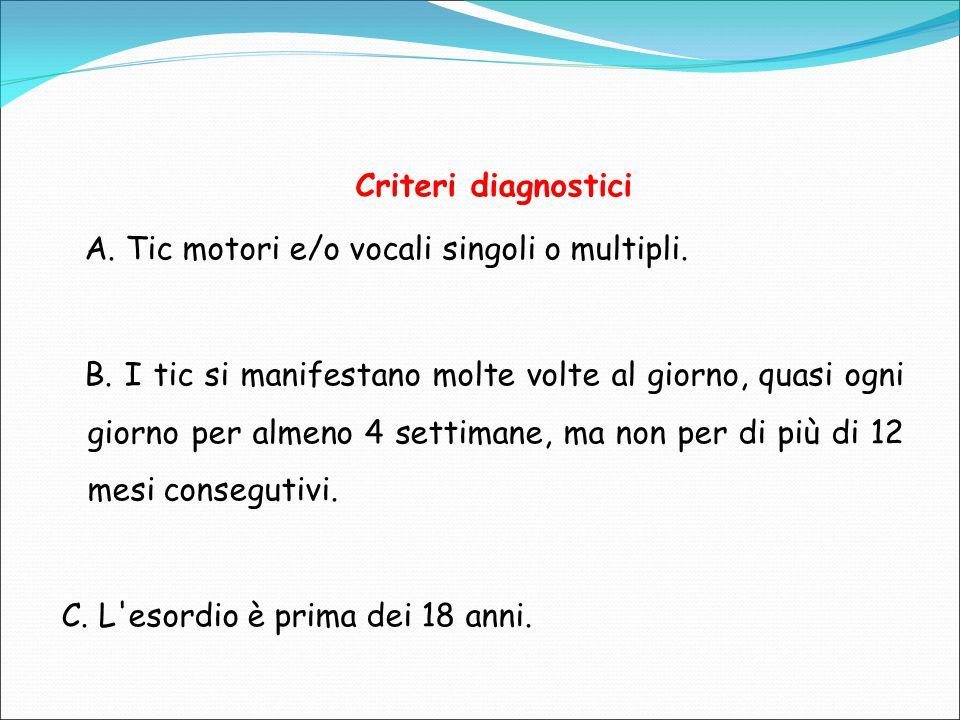 Criteri diagnostici A. Tic motori e/o vocali singoli o multipli.