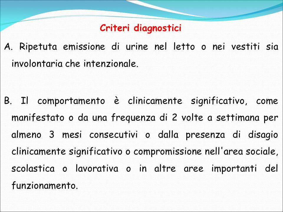 Criteri diagnostici A. Ripetuta emissione di urine nel letto o nei vestiti sia involontaria che intenzionale.