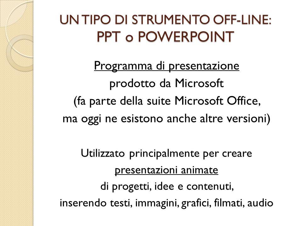 UN TIPO DI STRUMENTO OFF-LINE: PPT o POWERPOINT