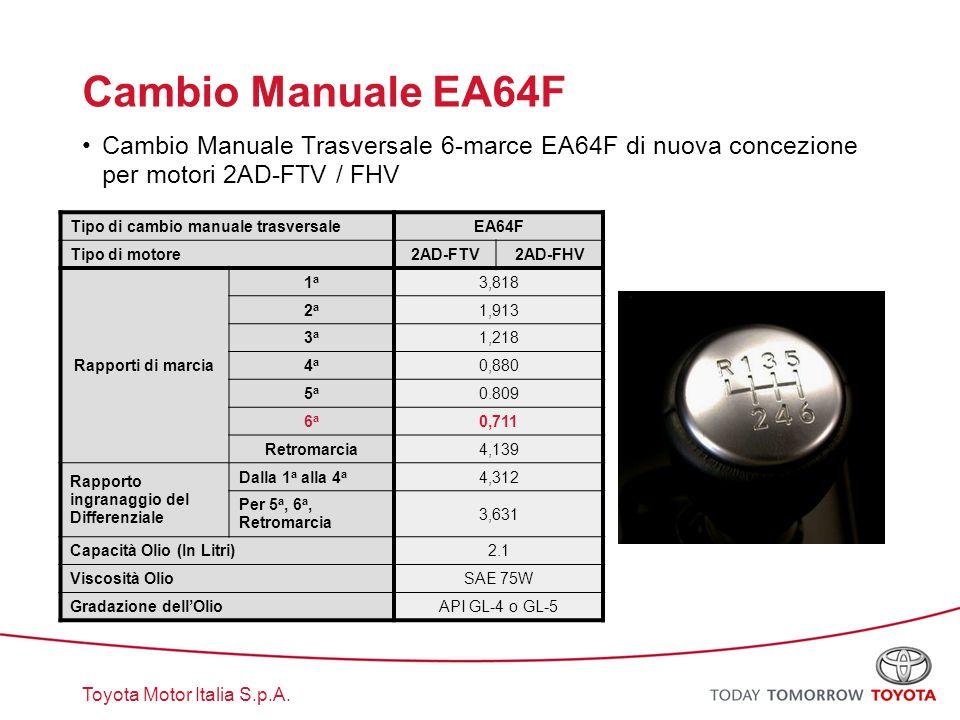 Cambio Manuale EA64F Cambio Manuale Trasversale 6-marce EA64F di nuova concezione per motori 2AD-FTV / FHV.