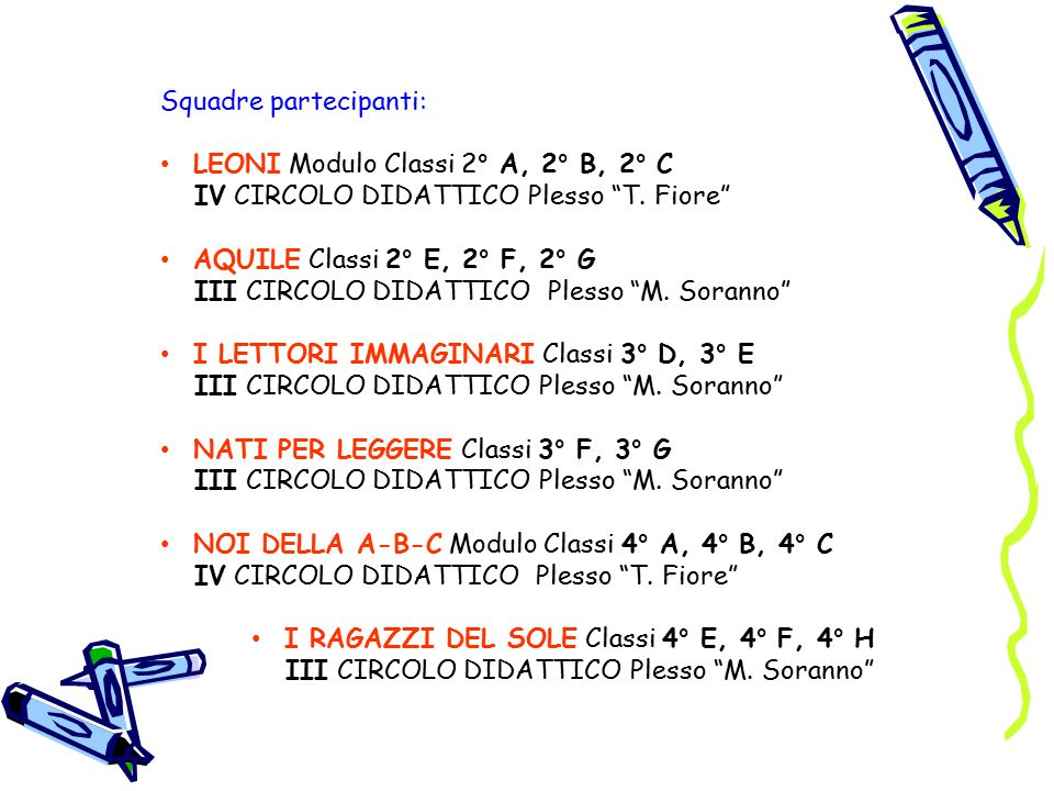 I RAGAZZI DEL SOLE Classi 4° E, 4° F, 4° H