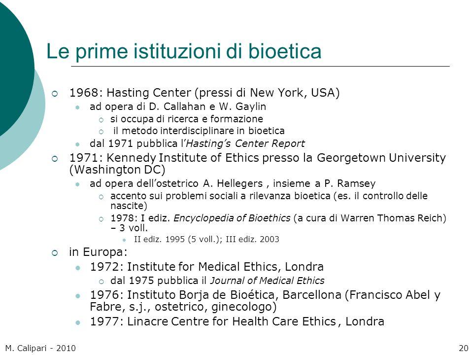 Le prime istituzioni di bioetica