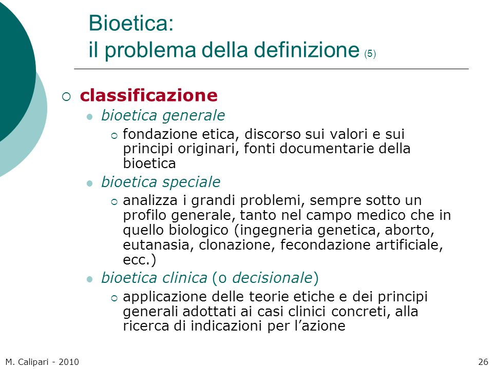 Bioetica: il problema della definizione (5)