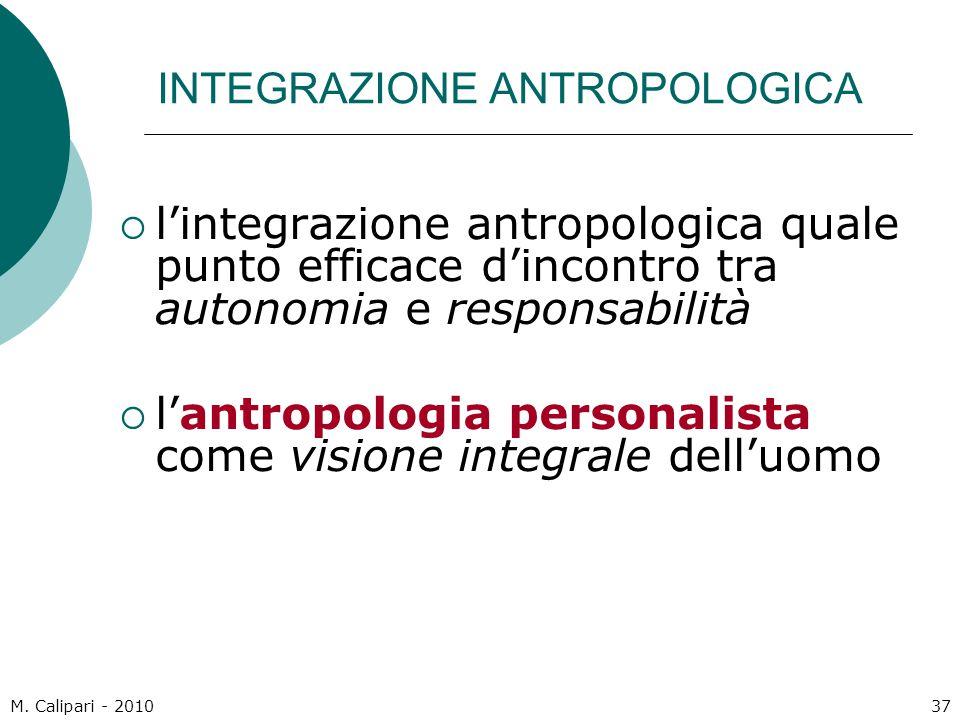INTEGRAZIONE ANTROPOLOGICA