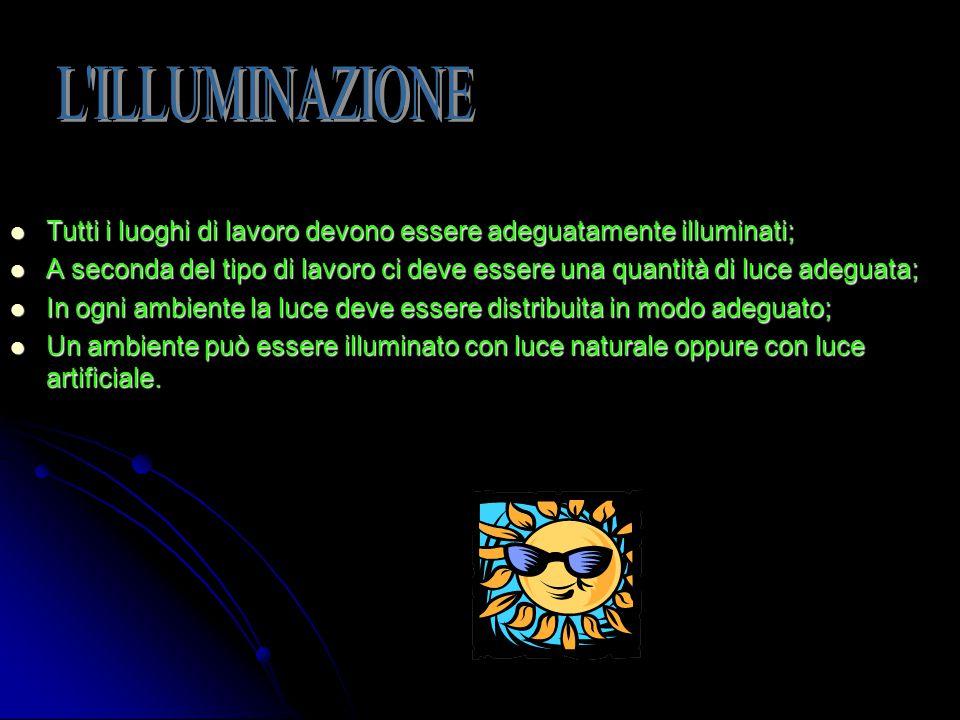 L ILLUMINAZIONE Tutti i luoghi di lavoro devono essere adeguatamente illuminati;