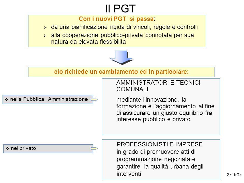 Il PGT Con i nuovi PGT si passa: