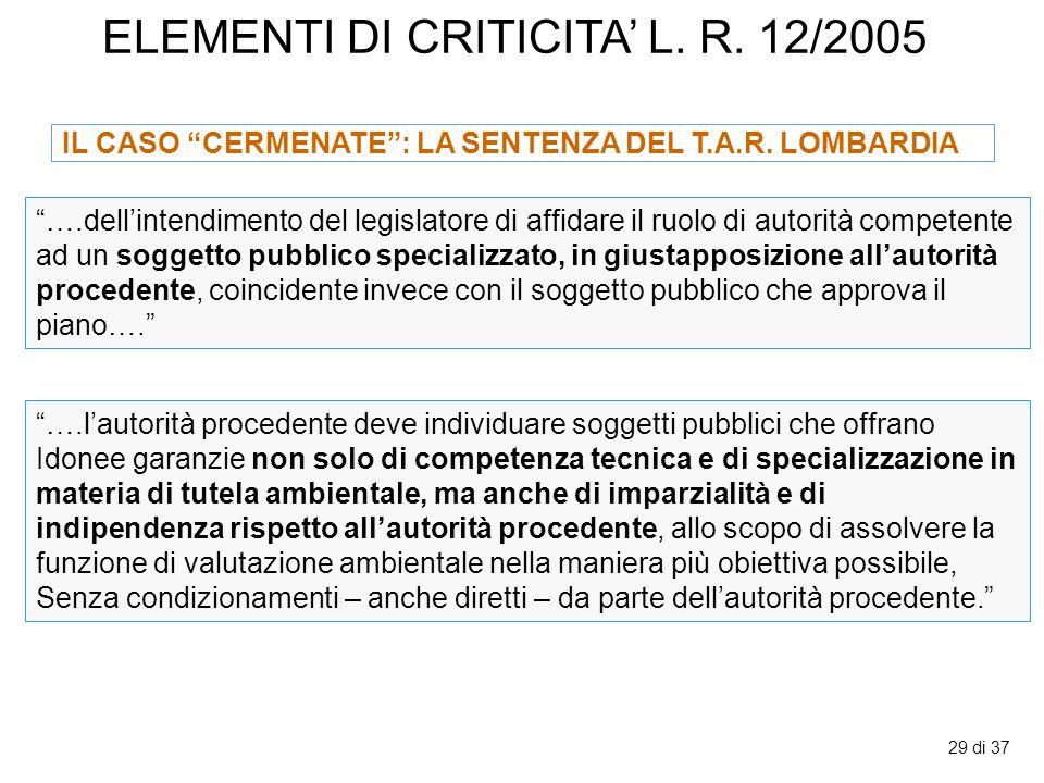 ELEMENTI DI CRITICITA' L. R. 12/2005