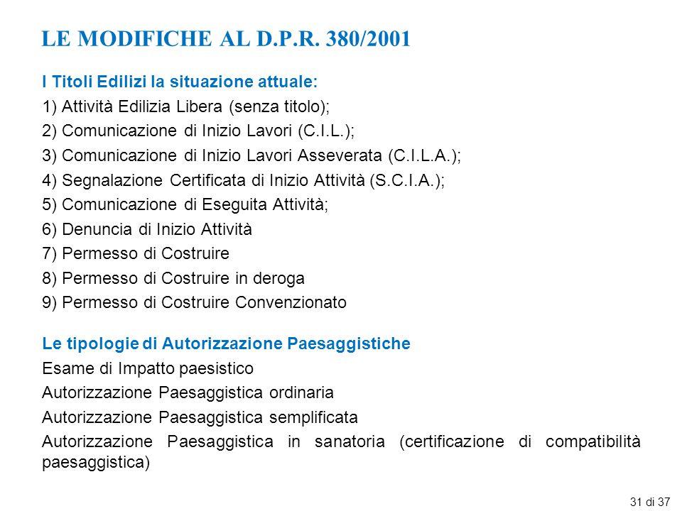LE MODIFICHE AL D.P.R. 380/2001 I Titoli Edilizi la situazione attuale: 1) Attività Edilizia Libera (senza titolo);