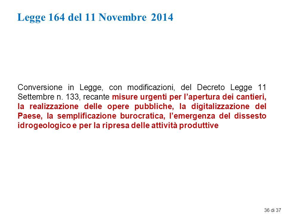 Legge 164 del 11 Novembre 2014