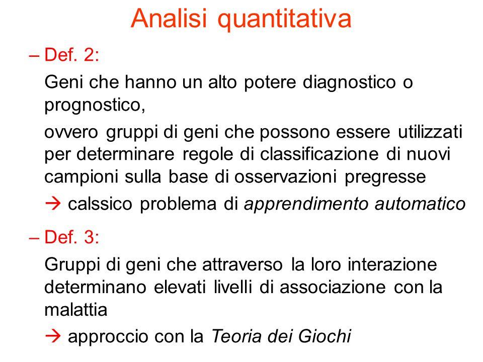 Analisi quantitativa Def. 2: