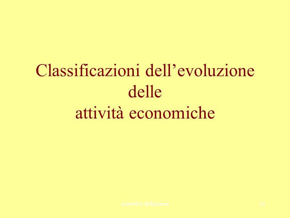 Classificazioni dell'evoluzione delle attività economiche